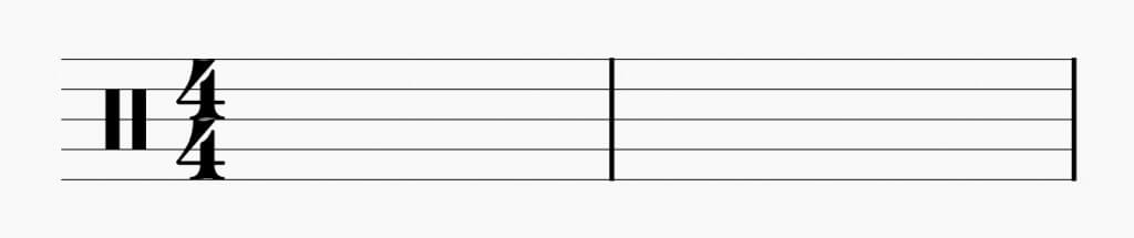 4/4 time signature with staff